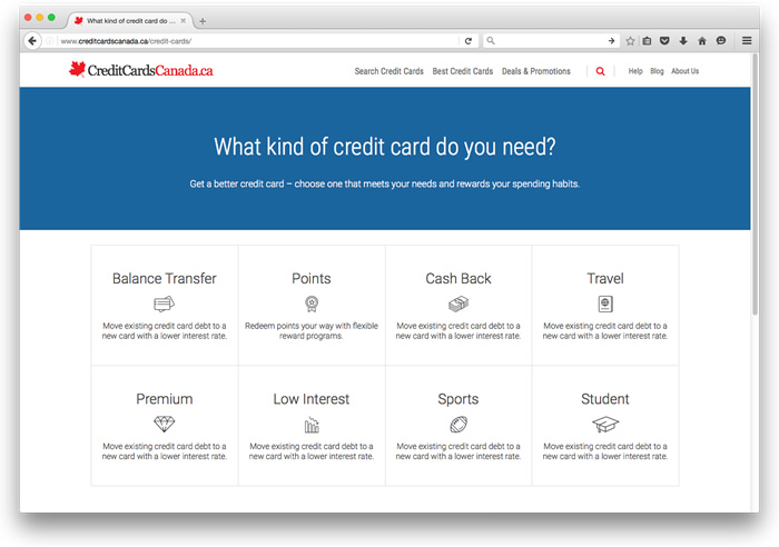 Compare Credit Cards on CreditCardsCanada.ca