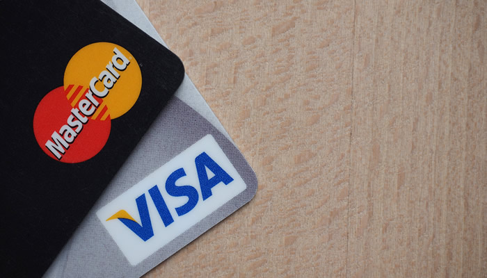 Visa and MasterCard on Desk